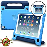 Apple iPad Air 2 case for kids, iPad Pro 9.7 case for kids [ANTI MICROBIAL IPAD KIDS CASE] PURE SENSE BUDDY Child Proof Shock Protective Cover for Boys | Shoulder Strap, Handle, Screen Protector, Blue
