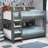 Happy Beds Domino Grey Wooden and Metal Kids Bunk Bed with Storage Shelves with 2x Spring Mattress 3' Single 90 x 190 cm