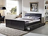 Luxury Madrid Designer Sleigh Bed Frame with 4 Drawer Storage Upholstered In Durable Easy Wipe Faux Leather (Double, Black)