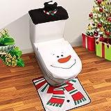 Top Home Solutions Novelty 3pc Christmas Festive Santa Elf Reindeer Snowman Toilet Seat Cover, Tank & Rug Bathroom Set (Snowman)