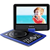 COOAU 11.5' Portable DVD Player, 5 Hours Rechargeable Battery, with 360° Swivel Screen/Remote Control/Game Joystick, Supports SD Card/USB/Sync TV, Direct Play in Formats AVI/RMVB/JPEG/MP3, Blue