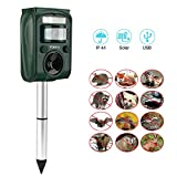 Yoleo Cat Repellent Ultrasonic Animal Repeller Solar Powered Battery Operated Outdoor Waterproof Electronic Cat Fox Dog Scarer Deterrent with Ground Stake [Battery Included]
