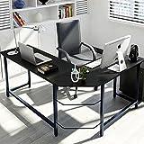 Tribesigns Modern L-Shaped Desk Corner Computer Desk PC Latop Study Table Workstation for Home Office Wood & Metal, Black