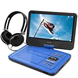 """WONNIE 10.5"""" Portable DVD Player with 270° Swivel Screen Built-in Rechargeable Battery SD Card and USB, Direct Play in Formats AVI/MP3/JPEG/RMVB (10.5, Blue)"""