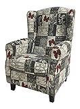 Suenoszzz - Wing Armchair (Ideal for Nursing), Upholstered HP Fabric modern Medida: 104 x 76 x 74. Butterflies