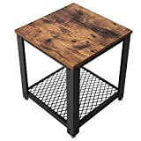 SONGMICS storage table side table metal legs vintage and used look for living room, bedroom or kitchen LET41X