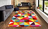 Online Bedding Store. New Bold & Beautiful Multi Bright Colour Carved Floor Rugs in Choice of Design and Colour Small- Large …(Geometric Triangle, 120cm x170cm)