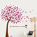 Huge pink tree Walplus Wall Stickers Flying Cherry Blossom Flower Tree Removable Self-Adhesive Mural Art Decals Vinyl Home Decoration DIY Living Bedroom Office Décor Wallpaper Kids Room Gift, Pink