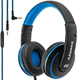 Audiance A2.0 Premium Over-Ear Stereo Headphones with Detachable Cable & 3.5mm Jack   Noise Isolating Wired Headset with Built-In Microphone for Hands Free Calls - Blue & Black