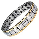 MPS EUROPE Gold Edge Links Titanium Magnetic Bracelet, Fold-Over Clasp, 3000 gauss Magnets + FREE Links Removal Tool