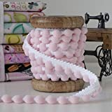 Pink On White 25m Small Pearl Pom Pom Trim/Fringe - Wholesale/Bulk/Discounted Excellent Quality