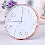 TOOGOO Modern Wall Clock,12 Inch Large Decorative Universal Silent Indoor Quartz Round Wall Clock Non-ticking for Living Room Office Kitchen(Rose gold)