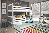 RICO children's bunk bed with trundle, white wooden beds for kids +mattresses, SEE COLOURS! (Graphite, 160x80)