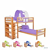 Emil Corner Bed Youth Bed 90x200WITH SHELF Bunk Bed Bunk Bed Solid Beech Wood with Natural Grill Trolley, divisible