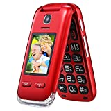 Obooy EG520 Unlocked GSM Clamshell Mobile Phone, SOS Button,Dual Screen with Large Keypad and Predictive Text, Radio/Camera/Torch/Charging Dock, Hearing Aid Compatible, Senior Citizen-Friendly, Red