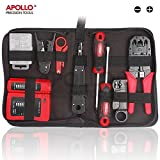 Apollo 19 Piece Professional Network, Computer Maintenance & Repair Tool Kit in Zipper Storage Case - Ideal for Testing and Troubleshooting Network Cabling Installations