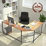 L-Shaped Corner Computer Desk Large PC Gaming Desk Study Table Workstation for Home Office Wood & Metal, Wood