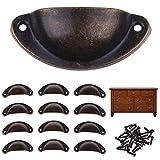 AllRight Shell Pull Handles 12 PCS Fix Shaker Style Vintage Antique Kitchen Cupboard Door Cabinet Drawer Furniture