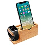 Apple Watch Stand,Aerb iWatch Bamboo Wood Charging Stand Bracket Docking Station Stock Cradle Holder W Namecard Slot for Apple Watch and iPhone 7/6/5