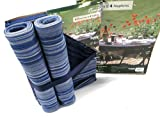Set of 4 Riviera Placemats & Napkins Striped 100% Cotton Blue for Garden, Picnic, BBQ, etc...