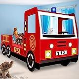Deuba Child Car Bed Frame Fire Truck Toddler Bed Kids Bedroom Furniture - 205x103cm - Fire Engine Bed Frame