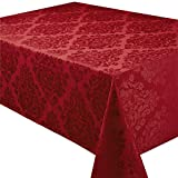 Palazzo Chateau Red Damask Effect 8 Place Setting Rectangular Mega Package Tableware Set - Includes A 70in x 90in (178cm x 228cm) Oblong (Rectanglular) Tablecloth - Napkins - Table Runner And Placemats. All Sizes Are Approximate.