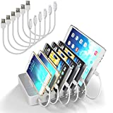 MSTJRY Multi Device USB Charging Docking Station for Multiple Devices 5V 50W 6-Port Charger Station with Cables Docking Station for Apple Iphone Ipad Android Cell Phone Tablet (White, 3 Lightning & 3 Micro Cables Included)
