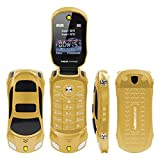 F15 MINI Flip Sports Car Style Cell Phone Supports Dual SIM Cards MP3/MP4 6 Colors (Gold)