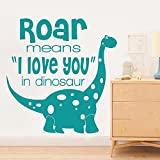 Roar Means I Love You In Dinosaur Nursery Wall Decal Kids Wall Mural Vinyl Love Wall Decal Sticker Children Room Art Decor Teal
