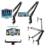 Universal Smartphone & Tablet Stand (Sturdy Metal Arm, Padded Holder, Adjustable Mounting Clamp) for Apple iPhone 6/ 6S / 7 / 7S / ipad Mini 3 / ipad Air 2 / Galaxy Tab 4 10.1 / Galaxy Tab A 9.7 / 8.0 And for any other 4.0-10.6 Inch Screen Device - Price xes (BLACK)