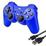 New Version Wireless Bluetooth Controller 6-AXIS Game Pad Double Shock Joystick for PS3 Controller PlayStation 3 Controller with Free Charging Cable Kabi