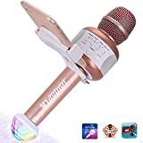 Karaoke Microphone MYADDLOT Wireless Bluetooth Karaoke Microphone Portable KTV Karaoke Machine with Speaker + FREE USB Disco Ball Light & IPhone Holder for Singing or Family KTV Party /Christmas Gift / iPhone/Smartphone