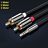 REALMAX 1M 2M 3M Meter Stereo 3.5mm Jack Plug to TWIN 2 x RCA PHONO Audio Lead GOLD CABLE (2Meter)