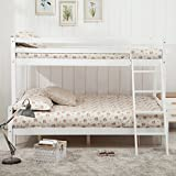 UEnjoy White Pinewood Bunk Bed Triple Sleeper Wooden Finished Bedroom Furniture for Kids Childrens Adults