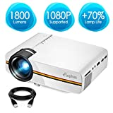 ELEPHAS LED Video Projector, Updated LCD Technology Support 1080P 150' Portable Mini Multimedia Projector Ideal for Home Theatre Entertainment Games Parties, White