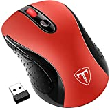 Wireless Mouse, Patuoxun 2.4G USB Wireless Mice Optical PC Laptop Computer Mouse with Nano Receiver, 2400 DPI 5 Adjustment Levels, 6 Buttons for Windows Mac Macbook Pro Linux Apple iMac - Super Energey Saving, Red