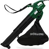 Andrew James Electric Leaf Blower and Garden Vac Shredder - Large Capacity 45L Vacuum Bag - Lightweight 4KG Machine - Adjustable Power - Shoulder Strap - Easy Function Change - 10M Cable