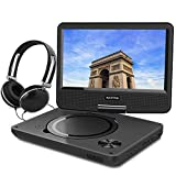 "WONNIE 9.5"" Portable DVD Player with 270° Swivel Screen, Best Gift for Kids, Support USB/SD Slot, Direct Play in Formats AVI/MP3/JPEG/RMVB (9.5, Black)"