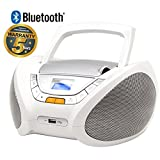 Lauson Cd-Player | Boombox | Portable Radio CD Player with Bluetooth | Usb & MP3 Player | Headphone Jack (3.5mm) | CP750 (White)