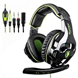 Sades PS4 Headset, 810 PC Gaming Headset Over-Ear Gaming Headphones with Mic Noise Cancelling & Volume Control for Laptop Mac Nintendo Switch New Xbox One PS4 (Black&Green)