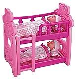 Vinsani Childrens Kids Pretend Play Pink Bunk Bed Dolls Set - Includes Twin Dolls