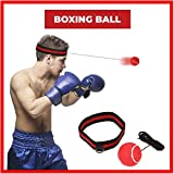 Reflex Boxing Ball,SGODDE Fight Ball Reflex on String with Headband for Fight MMA Training Speed Reactions Adult/Kids Improve Punch Focus Sport Exercise Practice Fitness Elastic Rope Head Band Set Cap Red