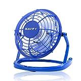 SAVFY 4' Portable Retro Mini Plastic USB Fan Silent Office / Home Light-Weight Desktop Fan Cooler For Laptop, NetBook, Computer and MacBook(Blue)