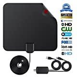 Digital TV Antenna Indoor HDTV Aerial 2018 Upgraded Version 1080P HD 50+ Miles USB Powered Amplified Antenna for All Types of Home Smart Television - Never Pay Fees
