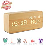 Alarm Clock,Wood Alarm Clock Voice Command Electric Time Bedside LED Travel Alarm Clock Cube 3 Levels Brightness 3 Alarms Digital Alarm Clock Display Time Date Week Temperature for Bedroom Office Home