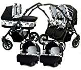 Twin Pushchair 3Pieces Carry-cots+Buggy+Group 0+Accessories Black + White + Circles.