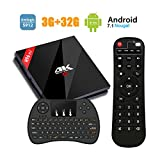[3GB+32GB TV Box] H96 Pro plus Android 7.1 TV Box Bulit-in Lastest Amlogic 912 Octa Core CPU,Support HDMI 2.0 Output Dual Band WiFi 2.4G/5.8G 1000M LAN 4K Smart Set Top Box with Wireless Keyboard
