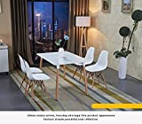 Wood Style Dining Table and 4 Chairs Set Set for Office Lounge Dining Kitchen - White
