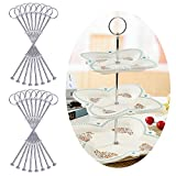 Rayinblue 16 Sets 3 Tier Cake Plate Stand Handle Fittings Silver for Tea Shop Room Hotel