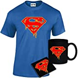 StarliteFunnyShirts Mens Printed Superman Dripping Blood Logo Inspired T Shirt Mug Coaster Gift Set